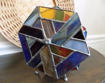 Stunning Mint Vintage Two Wheel Stained Glass Kaleidoscope - LARGE