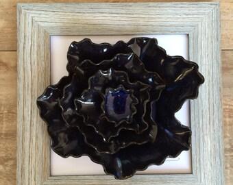 Handmade 3D pottery flower wall art