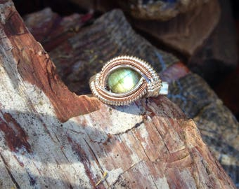 Size 7.25 • Labradorite • Sterling Silver with Rose Gold Wire Wrapped Ring