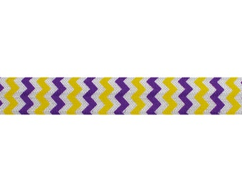 "Purple & Yellow Chevron - 5 Yards Printed FOE - 5/8"" Fold Over Elastic - 5/8-P-071"