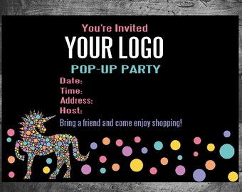 Invitation, pop-up, host party, Unicorn,   5x7,  certificate Instant Download, Consultant, leggings,  dots, Pop UP, On line Pop Up
