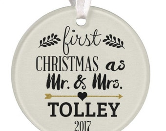Wedding Ornament, Christmas Ornament, Personalized Wedding Ornament, Ceramic Ornament, Wedding Gift, Mr. & Mrs. Ornament, RyElle, Christmas