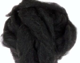 Black alpaca roving, natural undyed alpaca roving,  alpaca fiber for spinning and felting, 4oz.