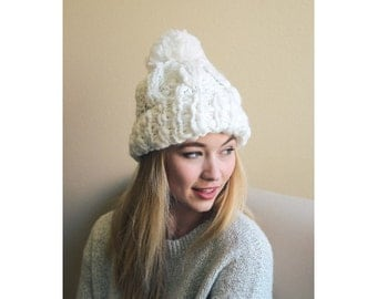 Winter Sale, Cable Knit Hat, Winter Hat, Pom Pom Hat, Knitted Hat, Womens Hat, Gift For Her, For Women, For Girls, For Friends