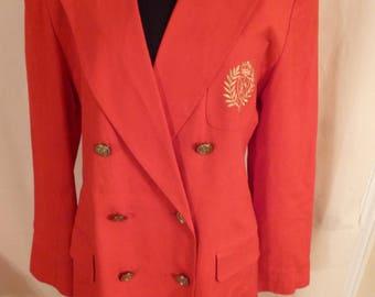Vintage 90s Casual Corner Long Red Blazer Sz 8 Embroidered Pocket