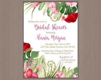 Hawaiian Wedding Shower Invitation, Hawaiian bridal shower invitation, Tropical wedding shower invitation, Floral bridal shower invitation