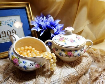 Vintage 1940s, Pope Gosser Sugar Bowl and Creamer Set, Pink, Blue & Yellow Flowers
