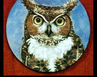 """Mr. Tiger 2017 Great Horned Owl Season 5 ~ Original, hand-painted, One-of-a-kind!  8"""" canvas circle - FREE shipping USA"""