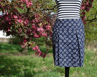 Skirt pleated FLORAL dark blue Navy white ladies skirt skirt women blue white floret pleated skirt box pleats