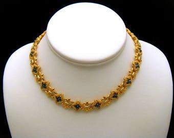 Crown Trifari Vintage Necklace Blue Rhinestones Gold Tone Fleur De Lis Links