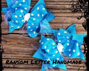 Small White Feather Turquoise and White Bows Toddler Christmas Bow Set Baby Bows for Blue Summer Hair bows
