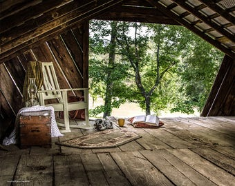 Rustic Barn Loft Still Life Photographic, Barn Loft Scene Fine Art Print or Canvas Wrap in Color or Black and White, Farmhouse Art
