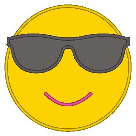 SAMPLE SALE, Cool Sunglasses Emoji Embroidered Shirt - Emoji Birthday - Emoji Birthday Shirt - Emoji Party - Emoji Movie