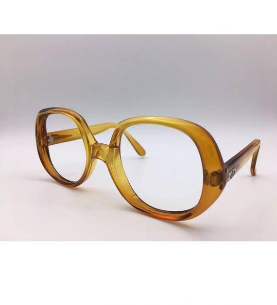 Vintage Christian Dior Eye Glass frames lens already removed brilliant Honey golden yellow with golden CD logos