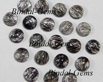 10 Pieces Lot Fine Quality Black Rutile Round Shape Smooth Polished Gemstone Cabochon