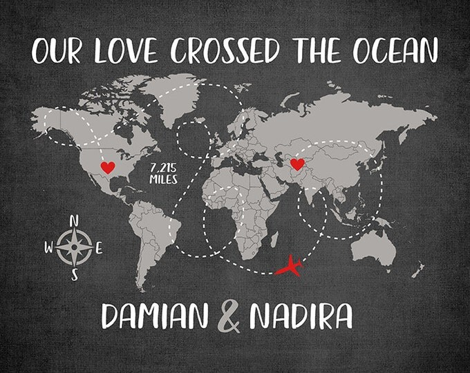 Featured listing image: Long Distance, Miles Across the Ocean World Map Art, Deployment Gift, Boyfriend and Girlfriend Gifts, Love Quote, Love Miles, Milso | WF73