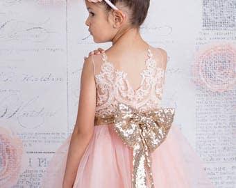 Gold & pink dress, Christening dress, flower girl, Sequin dress, Cake smash, Birthday dress, Baptism dress, Girls dress, Flower girl dress