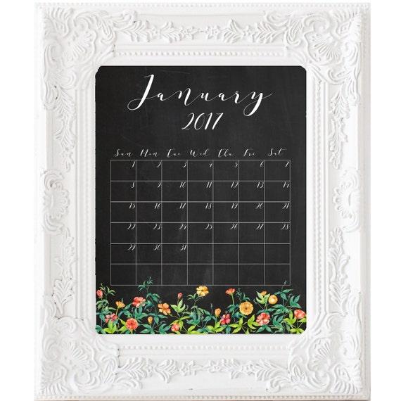 Art culos similares a 2017 mensual pizarra calendario planificador para imprimir calendario - Pizarra calendario ...