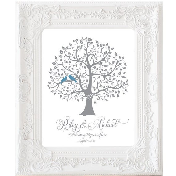 25th Wedding Anniversary Gift Ideas For Him: 25th Anniversary Print Unique Wedding Gift Personalized