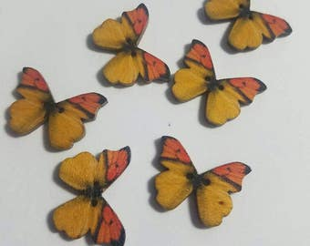 Yellow/Orange Butterfly Buttons