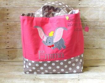 Diaper Bag/ Nappy Bag/ Dumbo Diaper Bag/ Dumbo Tote Bag/ Personalized Dumbo Tote Bag/ Elephant mommy bag/ Changing bag/ Baby bag