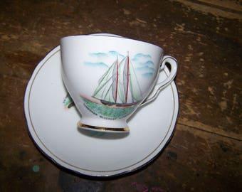 Historical Souvenir Royal Stafford Schooner BlueNose  Blue Nose Lunenburg N.S. Cup Saucer Set