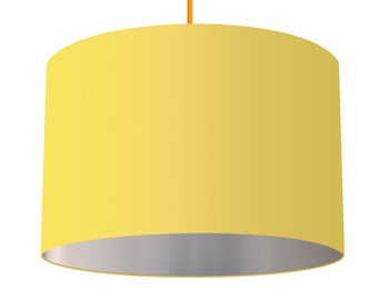 Sunshine Yellow Linen Fabric Drum Lampshade With Metallic Silver Effect Lining, Small Lampshade 20cm - Large Lampshade 40cm or Custom Order