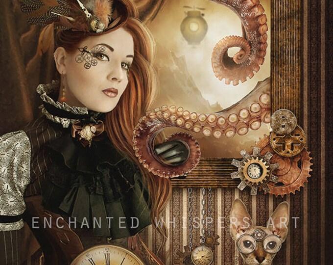 Steampunk fantasy woman portrait art print