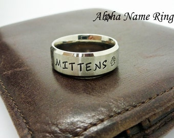 Pet Name Rings - Custom Hand Stamped Stainless Steel Dog or Cat Ring With Your Pet's Name ANR-R-M0018