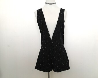 Black polka dot short overalls