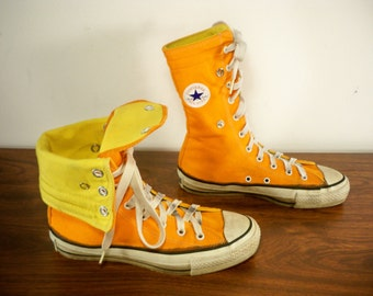 Vintage CONVERSE Chucks All Star Orange Canvas High Top Men's Shoes Sneakers Kicks Made in USA Size 4.5