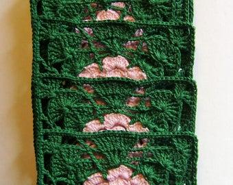 Hand Crochet Square Coasters set of 6