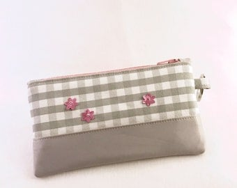 Coin Purse iPhone Zipper Pouch Grey and Pink with Side Ring