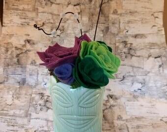 Wool Felt Succulent Arrangement in a Tiki Vase