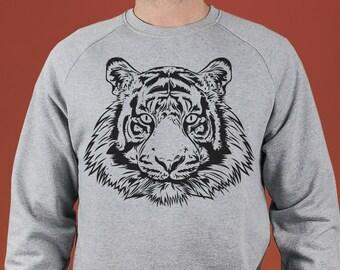 Sweatshirt Tiger, Heather Grey, organic cotton, black and white illustration,