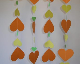Hand made Thick Card Stock Paper Party Wedding Christmas Decoration Streamer Orange, Green and Yellow Hearts