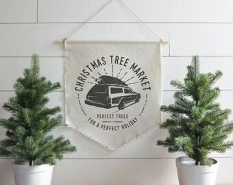 Christmas Tree Market Hanging Wall Banner // Christmas // Holiday // Wall Art // Gift  // Pennant // Wall Decor