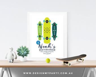 Skateboard Party Poster (Personalised DIY Printables)