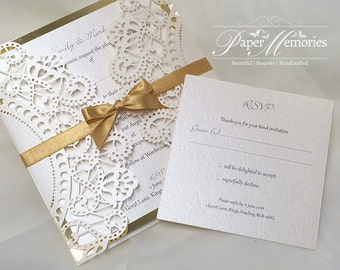 Laser Cut Doily Wedding Invitations Choose your own colours