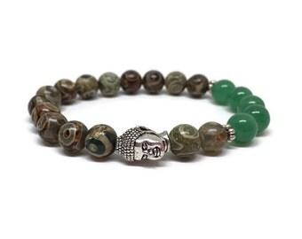 Buddha bracelet with Coffe Dzi Tibet Agate beads and green aventurine.