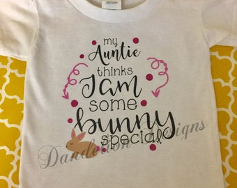 Girl's Easter Shirt Personalized Some Bunny Special Onesie Aunt Uncle Mom Dad Pink