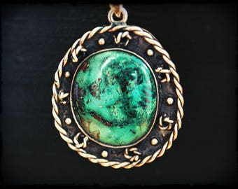 Native American Turquoise Pendant Necklace  - Boho Turquoise Pendant with Sterling Silver Chain