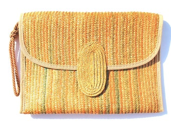 Vintage Tan Natural Straw Raffia Purse Oversized Envelope Clutch Made in Italy by Ronora