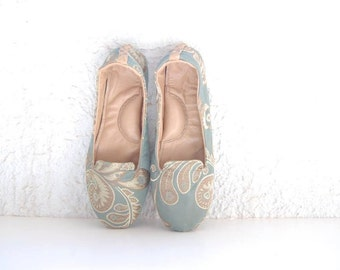 Handmade blue grey floral brocade fabric leather loafer shoes custom made