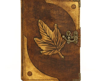 Spring Leaf Brown Large Leather Handmade Journal Diary Notebook Plain Paper Book