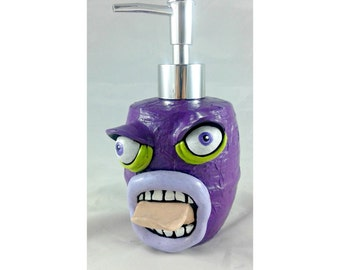 Purple Soap Dispenser with an Attitude, Mixed media and polymer clay soap pump, kids bathroom