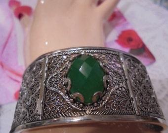 Sterling Silver Emerald Colored agate Gemstone  Cuff Bracelet