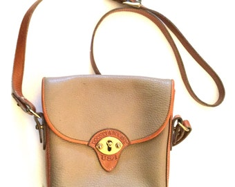 Vintage 1990s Dooney & Burke Cross body Leather Purse / Dooney AWL Taupe*Cavalry Small Spectator *Cross Body/Purse R89