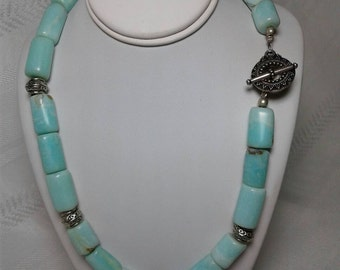 Blue Opal, chunky cylinder,  necklace with sterling silver