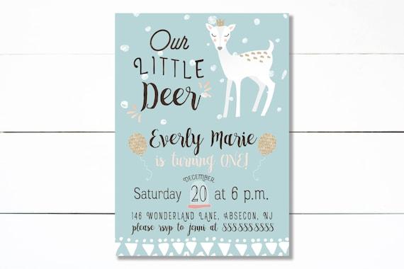 Deer birthday invitation, Woodland Girl Birthday invitation, Little Deer Birthday - PRINTABLE/DIY - Little Wild Design